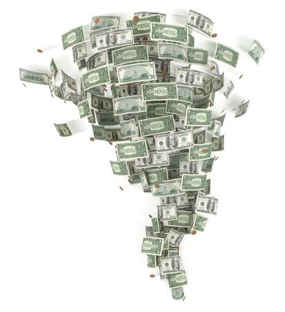 money background: Tornado from money isolated on white illustration.