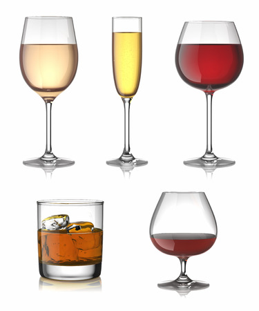 alcohol drinks: Alcohol drinks set isolated over white.