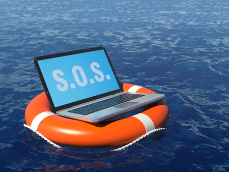 emergency: Laptop pc in lifebuoy on deep whater. Software rescue concept illustration.