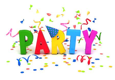 invitacion fiesta: Parte palabra con confeti sobre fondo blanco. Foto de archivo