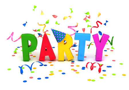 party background: Party word with confetti on white background. Stock Photo