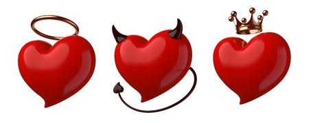 fateful: Red hearts set isolated on white.