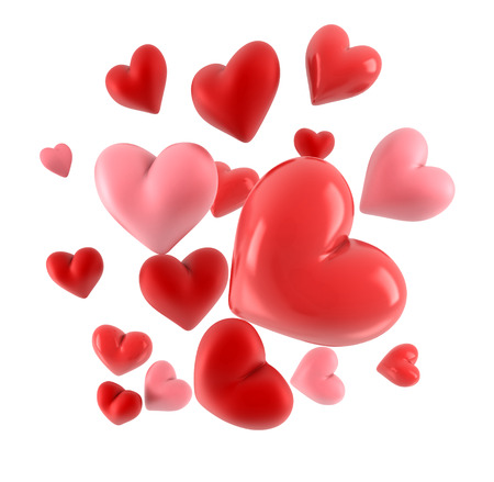 modern love: Lovely 3d hearts isolated on white. Stock Photo