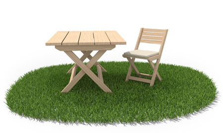 lawn chair: Wooden folding table and chair on green grass lawn.