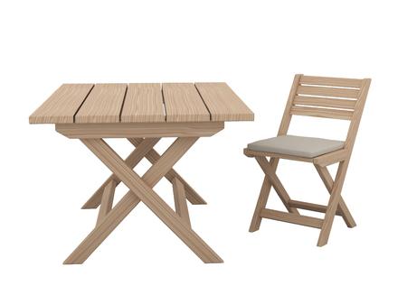muebles de madera: mesa plegable de madera y una silla aislados sobre fondo blanco. Foto de archivo