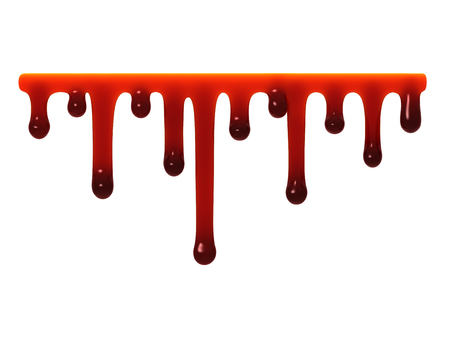 paint drop: Red liquid slime smudges oozing dripping isolated on white. Stock Photo