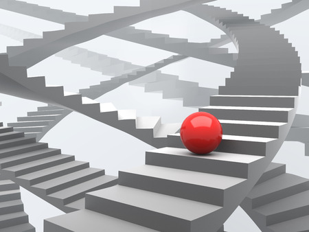 upstairs: Red ball on upstairs growth success many way concept illustration. Stock Photo