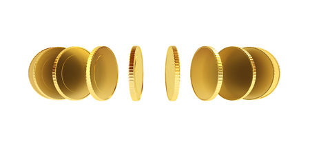 turnover: Coins in a circle isolated on white, money turnover concept 3D illustration.