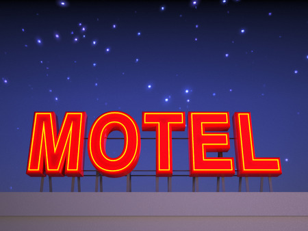 blue signage: Neon motel sign with a night stars sky in the background.