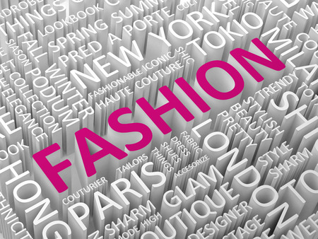 associated: Fashion word with associated terms word cloud concept 3d illustration