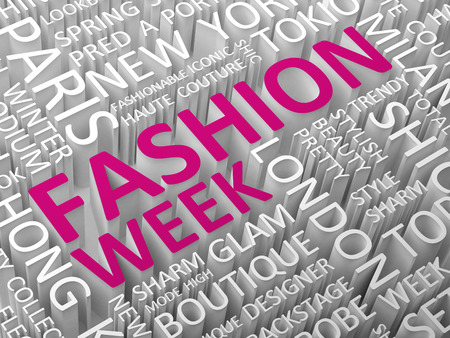 fashion week: Fashion news word cloud with the associated words 3D illustration.