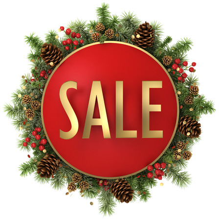sale word with christmas decorations isolated on white background