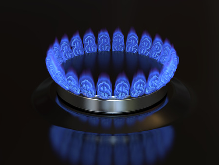 fee: Gas with a dollar sign burns from the kitchen stove. Cost of gas, gaz price concept 3d illustration.