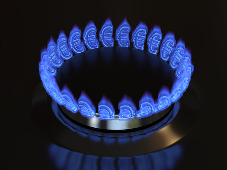 Gas with a euro sign burns from the kitchen stove. Cost of gas, gaz price concept 3d illustration.