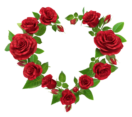 rose heart frame red rose frame in the shape of heart isolated on white 3d