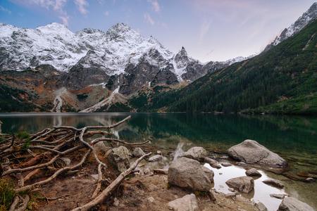 oko: High Tatry mountains. Morskie oko lake near Zakopane in the tatra mountains. Poland.