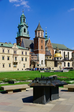 polska monument: In the Wawel royal castle and cathedral in Cracow Poland.