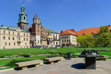polska monument: Inside of the Wawel royal castle and cathedral in Cracow Poland. Stock Photo