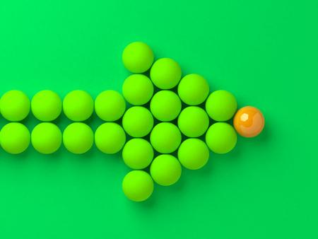 ボールの矢印方向のリーダーシップの概念図を示します。 写真素材