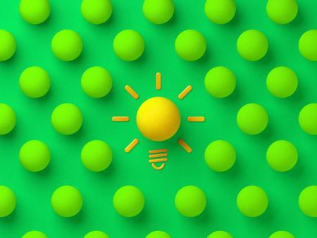 Yellow ball among the green balls. Good idea concept illustration.