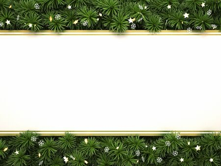 Christmas tree border with space for text 3d illustration. 版權商用圖片