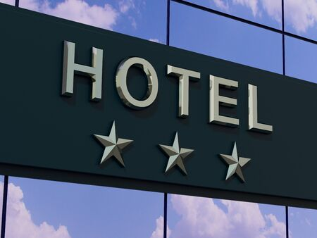 The hotel with a three stars sign on the modern building facade.