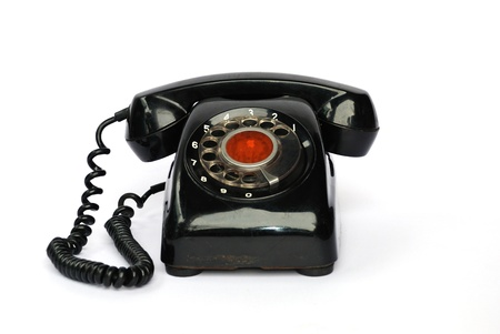 old telephone on the white background