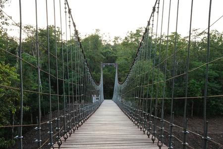 rope bridge in thailand Stock Photo