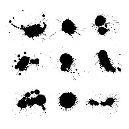 Vector set of ink splashes.