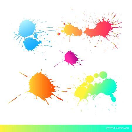 Vector ink splashes. Abstract ink splatter,