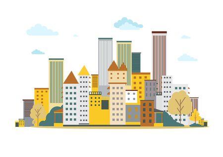 Flat design urban landscape.Vector Illustration