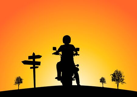 Silhouette of motorcyclists on nature at sunset. Ilustración de vector
