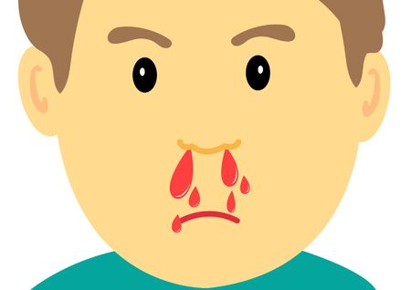 nosebleed on face symbol .Vector Illustration