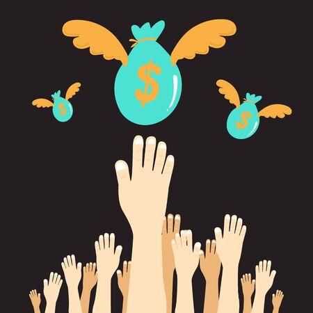 hands reaching money.Vector Illustration