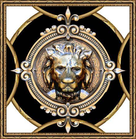 lion skull pattern in black white golden baroque Stockfoto - 132292971