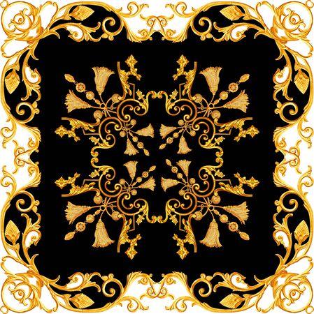 Golden baroque in ornament elements  vintage gold floral designs Stockfoto - 131954427