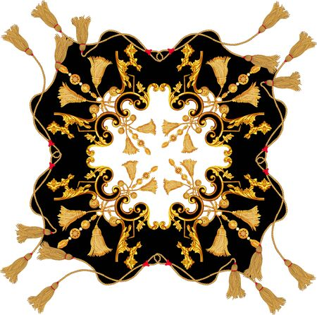 Golden baroque in ornament elements  vintage gold rope scarf designs Stockfoto - 132292774