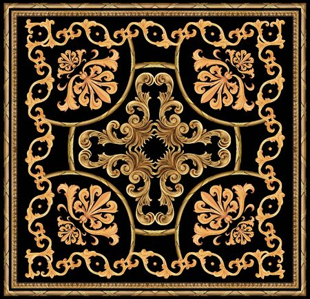 golden baroque ornament scarf pattern