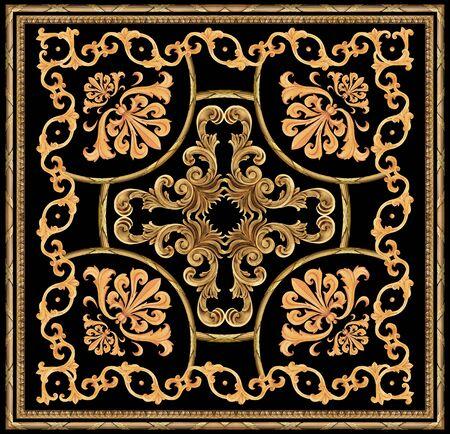 golden baroque ornament scarf pattern Stockfoto - 131954435
