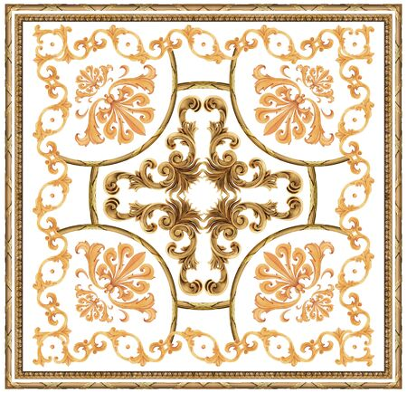 golden baroque ornament white background scarf pattern