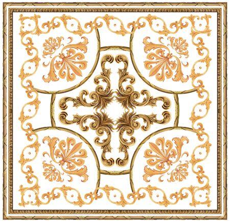 golden baroque ornament white background scarf pattern Stockfoto - 131954165