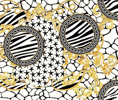 Baroque Ornament Pattern Design with Graphic Zebra Giraffe Skin and Stars Design Stockfoto - 132292778