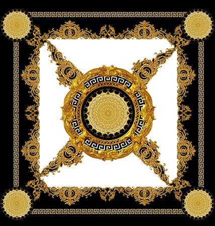 golden baroque black and white color scarf design Stockfoto - 132292786