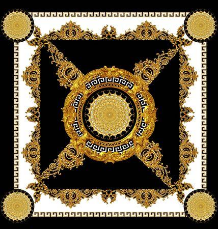 golden baroque black and white scarf design Stockfoto - 132292787