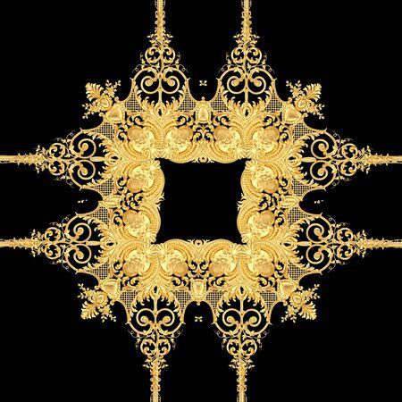 Golden baroque pattern Stockfoto - 132292790