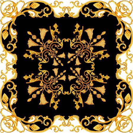 Golden baroque in ornament elements  vintage gold floral designs