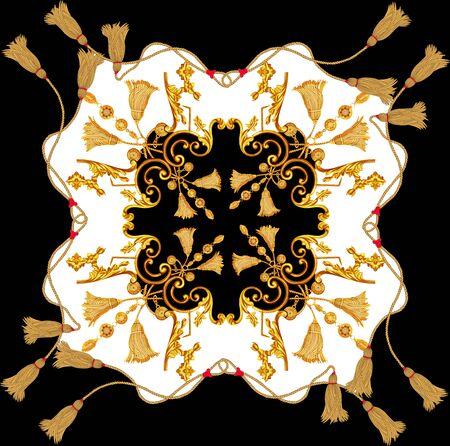 Golden baroque in ornament elements  vintage gold rope scarf design Stockfoto - 132292788
