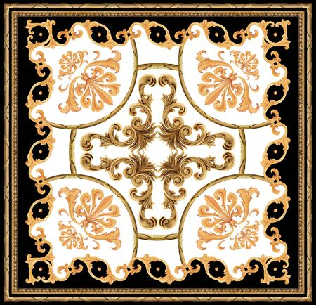 golden baroque ornament black white background scarf pattern Stockfoto