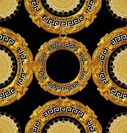 golden baroque pattern scarf design Stockfoto - 131953881