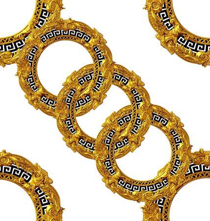 golden baroque pattern white color scarf design Stockfoto - 132292568